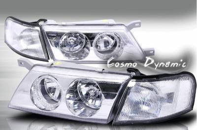 Headlights & Tail Lights - Headlights - Custom - Chrome Diamond Clear Headlight - White Halo - Corner Light Combo