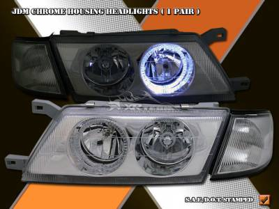Headlights & Tail Lights - Headlights - Custom - JDM Blue Halo Head Lights - Corner Combo