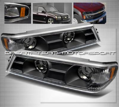 Headlights & Tail Lights - Corner Lights - Custom - JDM Black Bumper Lights with Amber Corner