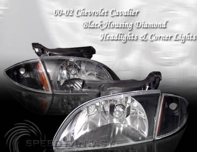 Headlights & Tail Lights - Custom Wing - Custom - Black Diamond Headlights With Corner