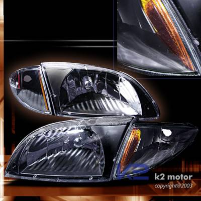 Headlights & Tail Lights - Headlights - Custom - Crystal Headlights With Black Corner