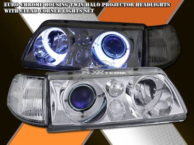 Headlights & Tail Lights - Headlights - Custom - Chrome  Dual Halo Headlights With Corner