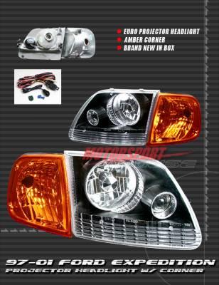 Headlights & Tail Lights - Headlights - Custom - Black Pro Headlights With Amber Corner