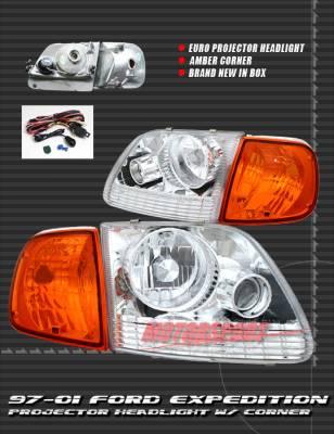 Headlights & Tail Lights - Headlights - Custom - Chrome Projector Headlights With Corner