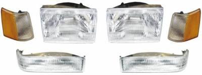 Headlights & Tail Lights - Headlights - Custom - Clear Headlights With Amber Corner