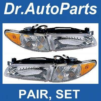 Headlights & Tail Lights - Headlights - Custom - Chrome Euro Headlights Amber Corner