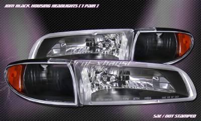 Headlights & Tail Lights - Headlights - Custom - JDM Black Housing Headlights Black Corner