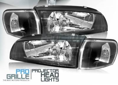 Headlights & Tail Lights - Headlights - Custom - JDM Black Headlights With Corner