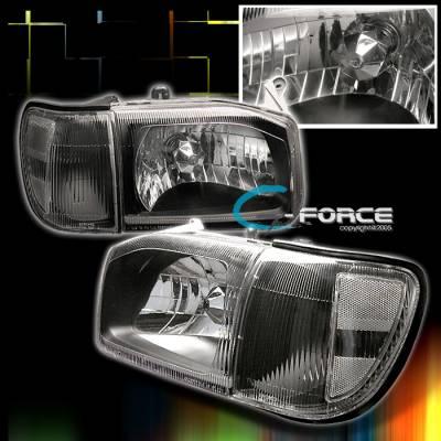Headlights & Tail Lights - Headlights - Custom - JDM Black Headlights With Clear Corner