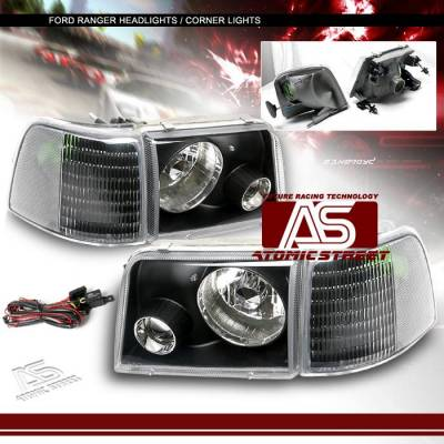 Headlights & Tail Lights - Headlights - Custom - Black Pro Headlights With Corner