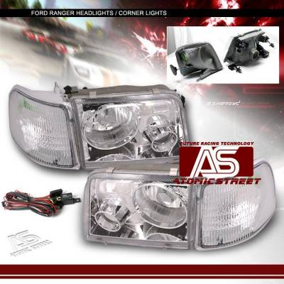 Headlights & Tail Lights - Headlights - Custom - Euro Chrome Pro Headlights With Corner