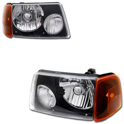 Headlights & Tail Lights - Headlights - Custom - Black Crystal Headlights With Clear Corner