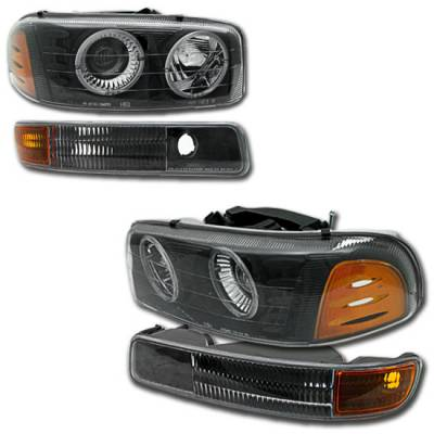 Headlights & Tail Lights - Headlights - Custom - Black Dual Halo Headlights With Corner
