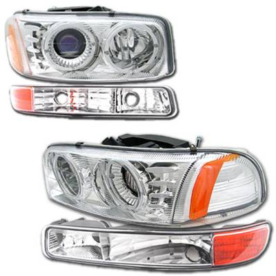 Headlights & Tail Lights - Headlights - Custom - Chrome Dual Halo Headlights With Corner