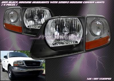 Headlights & Tail Lights - Headlights - Custom - Black Crystal Headlights with Corners