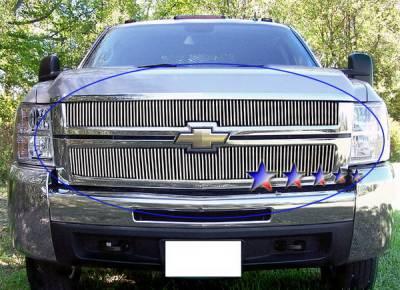 Grilles - Custom Fit Grilles - APS - Chevrolet Silverado APS Billet Grille - Upper - Aluminum - C65774V