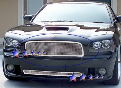 Grilles - Custom Fit Grilles - APS - Dodge Charger APS Wire Mesh Grille - 1PC - Upper - Stainless Steel - D75320T