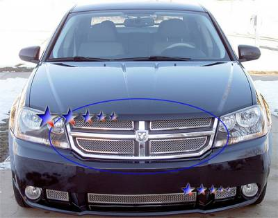Grilles - Custom Fit Grilles - APS - Dodge Avenger APS Wire Mesh Grille - Upper - Stainless Steel - D76518T