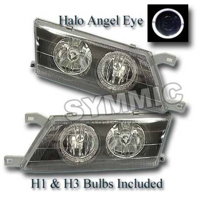 Headlights & Tail Lights - Headlights - Custom - Black Housing Headlights - White Halo Angel Eyes