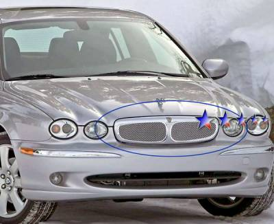 Grilles - Custom Fit Grilles - APS - Jaguar X Type APS Wire Mesh Grille - Upper - Stainless Steel - E75504T
