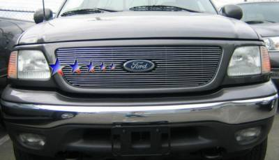 Grilles - Custom Fit Grilles - APS - Ford F150 APS Billet Grille - Bar Style with Logo Opening - Upper - Stainless Steel - F65723S