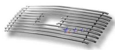 Grilles - Custom Fit Grilles - APS - Ford F350 APS Tubular Grille - Center with Logo Opening - Upper - Stainless Steel - F68000S