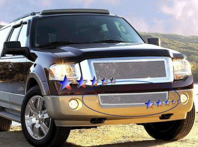 Grilles - Custom Fit Grilles - APS - Ford Expedition APS Wire Mesh Grille - Bumper - Stainless Steel - F75335T