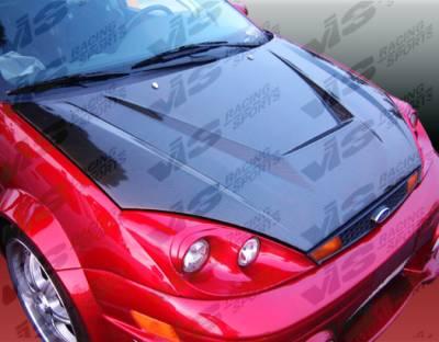 Focus ZX3 - Hoods - VIS Racing - Ford Focus VIS Racing Invader Black Carbon Fiber Hood - 00FDFOC2DVS-010C