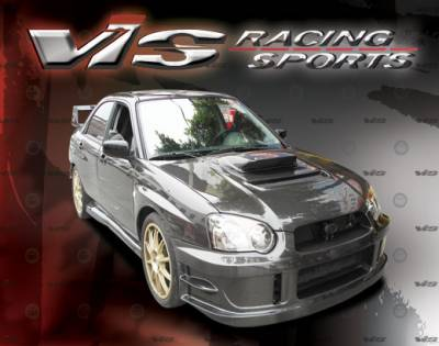 WRX - Hoods - VIS Racing - Subaru WRX VIS Racing V Line Black Carbon Fiber Hood - 04SBWRX4DVL-010C