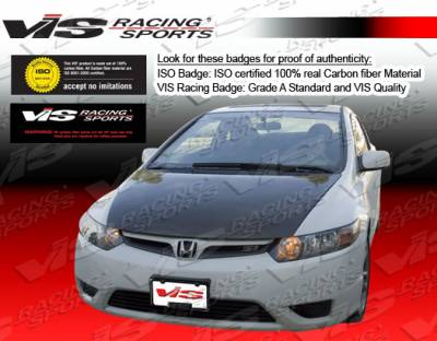 Civic 2Dr - Hoods - VIS Racing - Honda Civic 2DR VIS Racing OEM Black Carbon Fiber Hood - 06HDCVC2DOE-010C