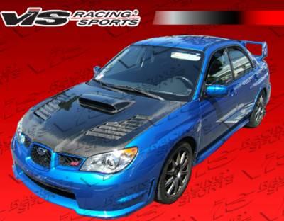 WRX - Hoods - VIS Racing - Subaru WRX VIS Racing Tracer Black Carbon Fiber Hood - 06SBWRX4DTRA-010C