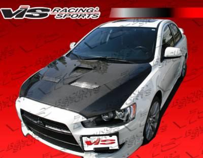 Lancer - Hoods - VIS Racing - Mitsubishi Lancer VIS Racing EVO-10 Black Carbon Fiber Hood - 08MTLAN4DEVX-010C