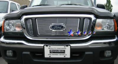 Grilles - Custom Fit Grilles - APS - Ford Ranger APS CNC Grille - Bar with Logo Opening - Upper - Aluminum - F95736A