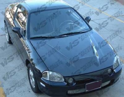Del Sol - Hoods - VIS Racing - Honda Del Sol VIS Racing Invader Black Carbon Fiber Hood - 93HDDEL2DVS-010C