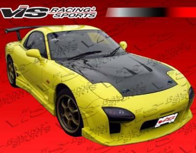RX7 - Hoods - VIS Racing - Mazda RX-7 VIS Racing JS Black Carbon Fiber Hood - 93MZRX72DJS-010C