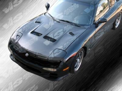 RX7 - Hoods - VIS Racing - Mazda RX-7 VIS Racing KS Black Carbon Fiber Hood - 93MZRX72DKS-010C