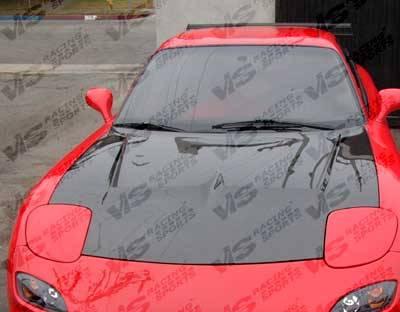 RX7 - Hoods - VIS Racing - Mazda RX-7 VIS Racing Invader Black Carbon Fiber Hood - 93MZRX72DVS-010C