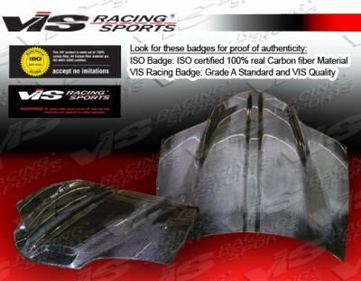 Firebird - Hoods - VIS Racing - Pontiac Firebird VIS Racing GTO Black Carbon Fiber Hood - 93PTFIR2DGTO-010C