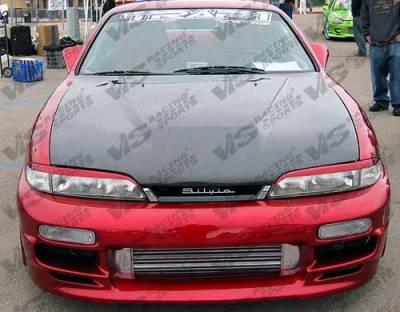 240SX - Hoods - VIS Racing - Nissan 240SX VIS Racing Invader Black Carbon Fiber Hood - 95NS2402DVS-010C