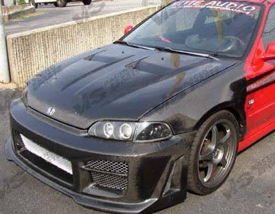 Civic 2Dr - Hoods - VIS Racing - Honda Civic 2DR & 4DR VIS Racing Xtreme GT Black Carbon Fiber Hood - 96HDCVC2DGT-010C