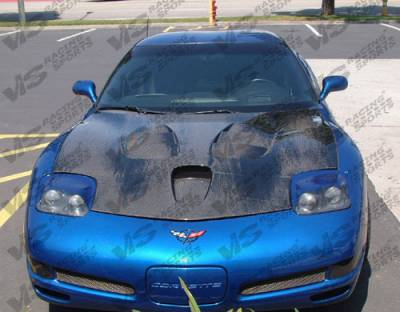 Corvette - Hoods - VIS Racing - Chevrolet Corvette VIS Racing Fuzion Black Carbon Fiber Hood - 97CHCOR2DFZ-010C