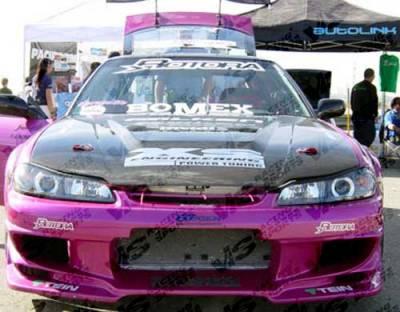240SX - Hoods - VIS Racing - Nissan 240SX VIS Racing Invader Black Carbon Fiber Hood - 97NS2402DVS-010C