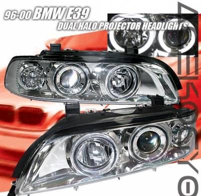 Headlights & Tail Lights - Headlights - Custom - Chrome Dual Halo Projector Headlights - White Halo