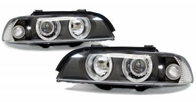 Headlights & Tail Lights - Headlights - Custom - Black Euro Angel Eyes Headlights - White Halo