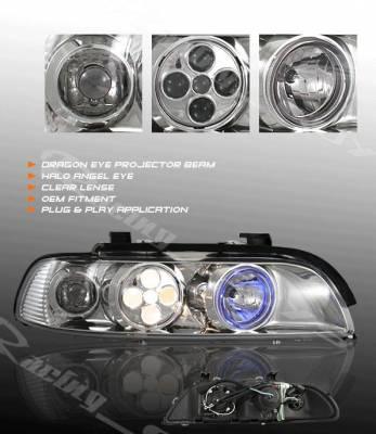 Headlights & Tail Lights - Headlights - Custom - Chrome Dragon Eye Projector Headlights - Blue Halo