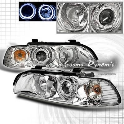 Headlights & Tail Lights - Headlights - Custom - Chrome Euro Angel Eyes Headlights - White Halo