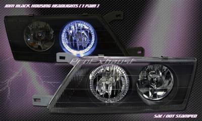 Headlights & Tail Lights - Headlights - Custom - Black Housing Headlight - Blue Halo
