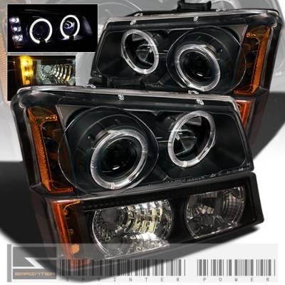 Headlights & Tail Lights - Headlights - Custom - Black Pro Headlight With Bumper Lights - Blue Halo