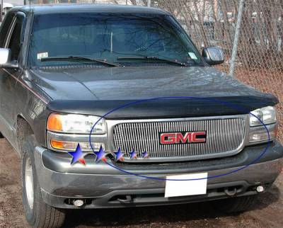 Grilles - Custom Fit Grilles - APS - GMC Sierra APS Billet Grille - with Logo Opening - Upper - Aluminum - G65703V