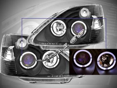 Headlights & Tail Lights - Custom Wing - Custom - Black Housing Twin Halo Pro Headlights